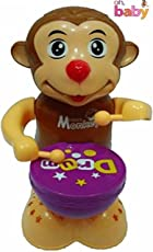 SAISAN 360 Degree Rotation Happy Drummer Monkey with Toy Light, Music (Multicolour)