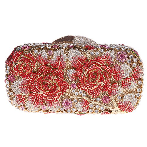 Bonjanvye Glitter Floral Clutch Purse for Girls Crystal Rhinestone Handbag Rose Gold Red