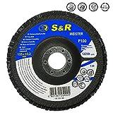 S&R Fächerschleifscheibe 125x22,2 T29, (Körnung 100). Set 5 Stück für Schleifen von Stahl und Holz. Set für Winkelschleifer.