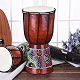 Pintada a mano Djembe tambor de piel de cabra Profesional Materiales Classic Pintura África Occidental tambor de Bongo para niños Kid toys-11.81(* 6pulgadas, 6 pulgadas
