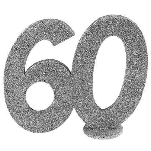 (Tischdekoration zum 60. Geburtstag, silberfarben, REF/4752)