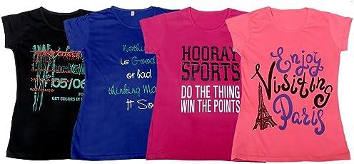 IndiWeaves Girls Cotton Printed T-Shirt (Pack of 4)