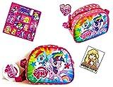 My little Pony 2 TLG Super Set - kleine Tasche/Umhängetasche mit glitzender Vorderseite (20 x 16 x 9 cm) + 12 Equestria Girls Sticker Fans Kindertasche