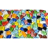 300 g de mosaïque de pierres en verre, souple, irrégulière (polygonale) et multicolore - Non translucide - Environ 170 pièces