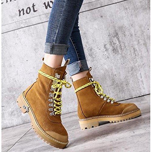 ZHZNVX hsxz Damen Schuhe echt Leder Winter Rindsleder mit Fashion Stiefel Boots Stiefel, Schuhe, flache Ferse Round Toe Stiefel Rivet, camel, US8/EU39/UK6/CN39 (Braun Rindsleder Western-boot)