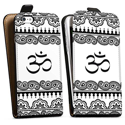 Apple iPhone X Silikon Hülle Case Schutzhülle Mandala Henna Yoga Downflip Tasche schwarz