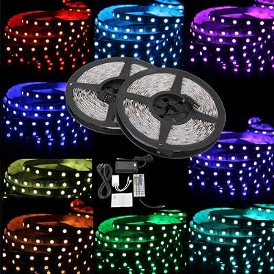 KOMPLETT SET: 10M 2x5m 600 5050SMD LED Lichterkette Strip RGB Controller, 44 Tasten Fernbedienung und Netzteil Party von emall supply auf Lampenhans.de