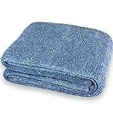 CelinaTex Calgary Kuscheldecke XXL 170 x 200 cm blau weiß Tagesdecke Ärmel Fußtasche Mikrofaser Fleece Decke 5000014
