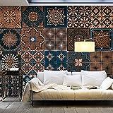 PURO TAPETE | 3 Motive zur Auswahl | Realistische Tapete ohne Rapport und Versatz | Kein sich wiederholendes Muster | 10m VLIES Tapetenrolle | Mosaik Ornament f-A-0528-j-c