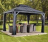 Aluminium Pavillon Überdachung Gazebo Mykonos // 299x425 cm (BxH) // Sommerpavillon und Gartenlaube mit Hard-Top Dach von Sojag