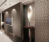 hanmero 3D Fun Labyrinth Muster im europäischen Stil Abnehmbare Vinyl Tapete dekorative Rollen 53cm von 998,2cm PVC geprägt Wandbild Wände für Living sitzend Schlafzimmer TV Sofa Hintergrund, Vinyl, coffee, 1