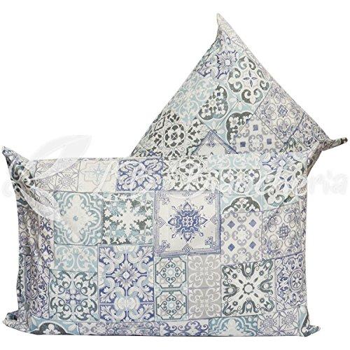 Coppia federe cuscino letto cm 52x82 pompei, con bottoni clic clac - blu