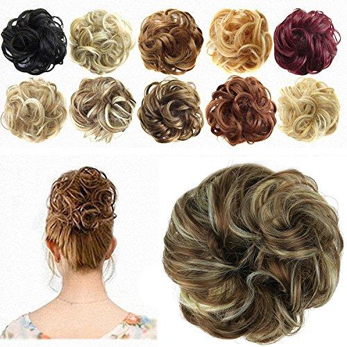 Feshfen chignon con capelli mossi, ricci, ondulati, extensions per capelli ondulati ricci, con ciocche morbide, color nero corvino