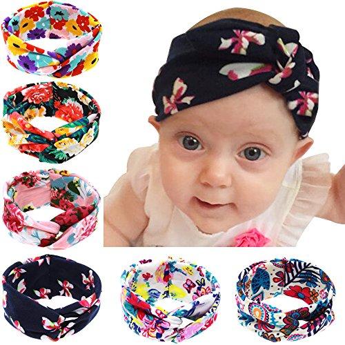 Baby fascia turbante per capelli fiocchi Croce Nodo Clip per capelli per bambini, 6pezzi