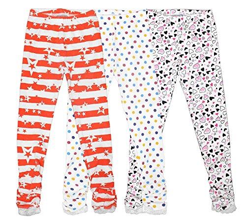 Bienzoe Mädchen Strick Baumwolle Stretch Schuluniform Spitze Antistatische Legging 3 Packung Drucken Größe 7 (Taille Neue Elastische Uniform Weiße)