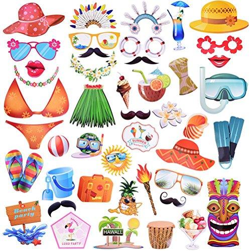 Tinksky Hawaii A Thema Summer Party Photo Booth Streben Kit DIY Luau Party Supplies für die Ferien von Hochzeit Beach Party 45-pack