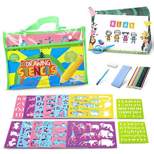 Lenbest Zeichenschablonen Kinder Set, Schablonen DIY Gemälde Kit, Reiseaktivität und Lernspielzeug zur Förderung der Kreativität von Kindern, Jungen Mädchen 4+ (Für Schablonen Kinder)