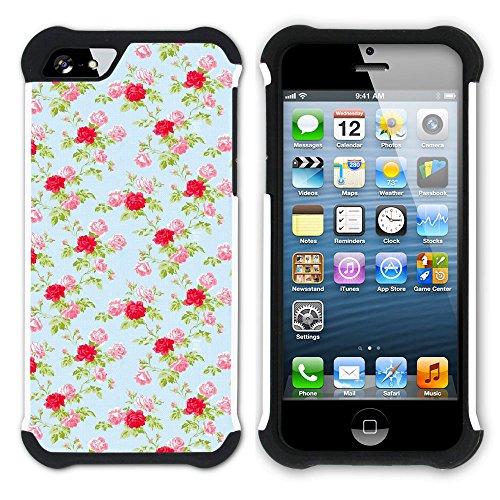 Graphic4You Blume Blumen- Muster Hart + Weiche Kratzfeste Hülle Case Schale Tasche Schutzhülle für Apple iPhone SE / 5 / 5S Design #8