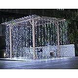 SOLMORE 6M x 3M Tenda luminoso luci della tenda 600 LED IP44 String Festival decorazione di Natale / Feste/ Anniversario/ Cerimonia/ Matrimonio/ Sera Presa di 220 V Bianco