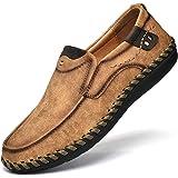LIEBE721 Mocasines Hombres Casuales Holgazanes Slip On Plano Cuero Loafers Casual Zapatos de Conducción Zapatillas Zapatos de