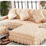KA-ALTHEA- Europea funda de sofá tejido jacquard cojín del sofá cojín antideslizante toalla cubierta de sofá simple cuatro estaciones (amarillo, párrafo encajes) -El amortiguador del sofá conjuntos de sofás Funda ( Tamaño : 90*210cm )