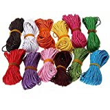 Tinksky 10M 1mm Waxed Cotton Cords Strings Ropes for DIY Necklace Bracelet Craft Making (12 Random Colors)