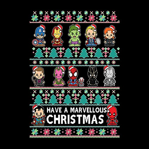 Lil Marvel Chrismas Jumper Marvellous Men's Vest Black