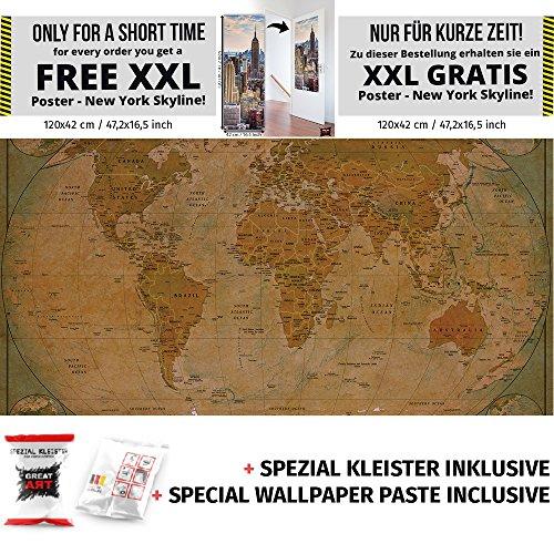 Historische Weltkarte Fototapete Kontinente Globus Land XXL Weltkarten Wandbild Wanddeko 210 x 140 cm + Spezial Kleister