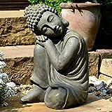 Bouddha Statuette Chinois 43 cm décoration zen pour intérieur extérieur jardin zen, feng shui