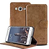 Grand Prime Case, SAVFY Galaxy Grand Prime Wallet Case, Luxury PU Leather Case Flip Cover with Card Slots Stand For Samsung Galaxy Grand Prime - Light