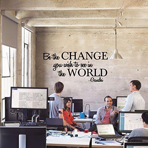 Vinyl Wand Aufkleber Aufkleber-Be The Change, Sie wollen in die Welt-Inspirierende Gandhi Zitat-Wohnzimmer Wand Art Decor-Motivationsarbeit Zitat Abziehen und Aufkleben 18