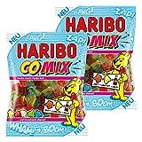 Haribo Comix - Set di 2 caramelle in gomma da frutta, gomma, cannella, lime, lampone, ananas, mela, gelato, in sacchetto, 200 g
