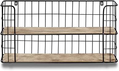 LIFA LIVING Vintage Wandregal aus Holz und Metall Schwarz mit 2 Böden - Holzregal - Natur Stil, Gewürzboard Küchenregal Regal 2 Etagen - Küchenregal oder Gewürzständer   68 x 35 x 16 cm