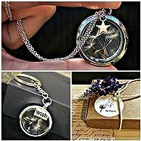 Pusteblume Anhänger in Sterlingsilber 925 kette & Silbernes Medaillon Schlüsselring Passendes Geschenkset mit GESCHENKBOX - Sentimental Schmuck für Frauen Muttertag Geschenk
