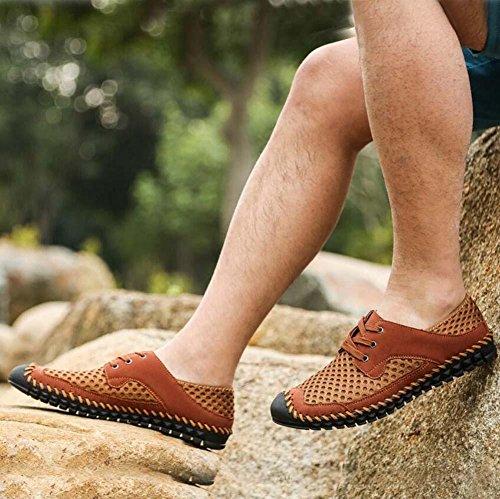 Pompe Glisser sur Flâneur Fil net Engrener Des sandales Décontractée Chaussures Hommes Respirant Creux Cordons Chaussures à pédales Sneaker Chaussures de sport Chaussures de conduite Chaussures paress Brown