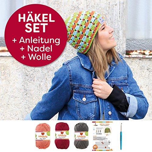 myboshi Mützen Häkel-Set Yanai Sommer-Mütze Häkelmuster + Häkelnadel + Label + 150g Baum-Wolle Lieblingsfarben No.2 (Titangrau, Chillirot, Rouge)