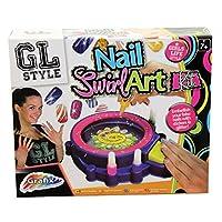 Grafix Girls Nail Art Kit Swirl Machine 4 Paints 3 Glitters Holographic Stickers
