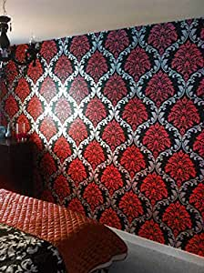 Damask wallpaper red silver black feature wall bedroom for Wallpaper for bedroom amazon