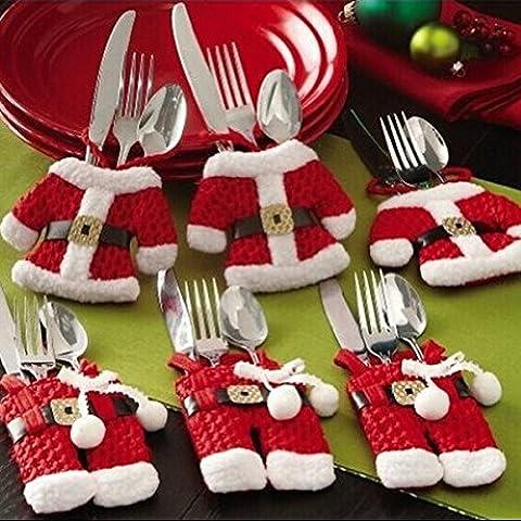 OUNONA Santa Anzug Besteck Halter Sankt-Klage Weihnachten Besteckhalter Taschen Für Weihnachtstisch Dekoration