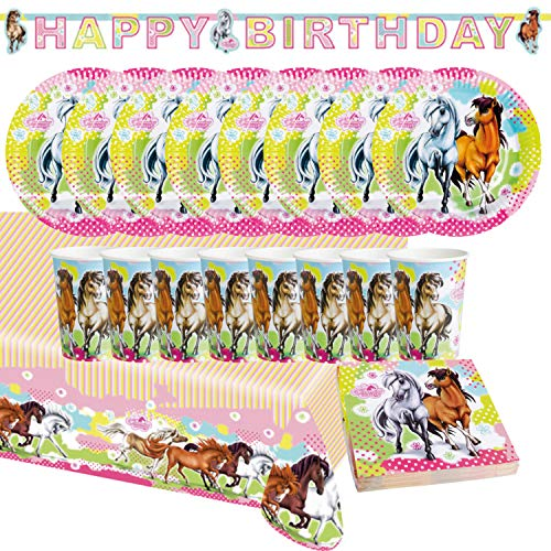 Krause & Sohn Party-Set Kindergeburtstag Pferde 38 Teile Geschirr Geburtstag Party Mädchen