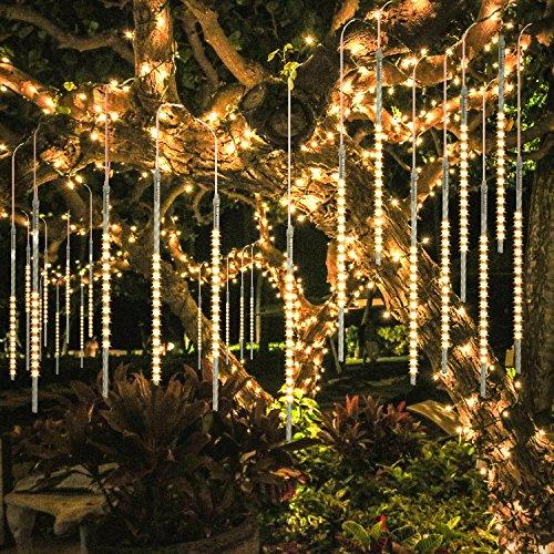 BlueFire Aggiornato Luci Della Pioggia di Meteore, 50cm 10 tubi 540 LEDs IP65 Tubo a spirale Luci Stringa meteora doccia per Natale Halloween Albero del Giardino Festa di Nozze (Bianco caldo)