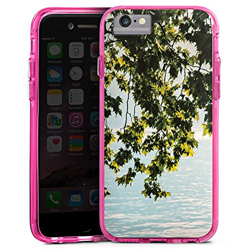 Apple iPhone 7 Bumper Hülle Bumper Case Glitzer Hülle Natur Tree Baum Bumper Case transparent pink
