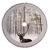 Valery Madelyn 106cm Wald Samt Silberweißer Weihnachtsbaumdecke, 3D Hirsch Design mit grauem Fell Rand