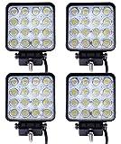 Leetop 4 X 48W Lampe de Travail Phare Anti-brouillard LED pour Camion Bateau (60 degrés)