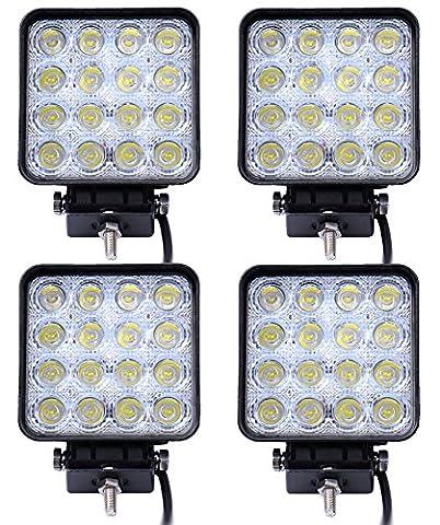 (Garantie d'un an) 4 X 48W Lampe de Travail Phare Anti-brouillard LED pour Jeep SUV ATV Camion Bateau by LIHAO (60 degrés)