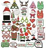 Noël Photo Booth Props, Konsait DIY Noël Accessoires Photobooth sur un bâton-Funny Santa Hat bois masques moustache selfie Props pour les enfants adultes de Noël décoration Party faveurs