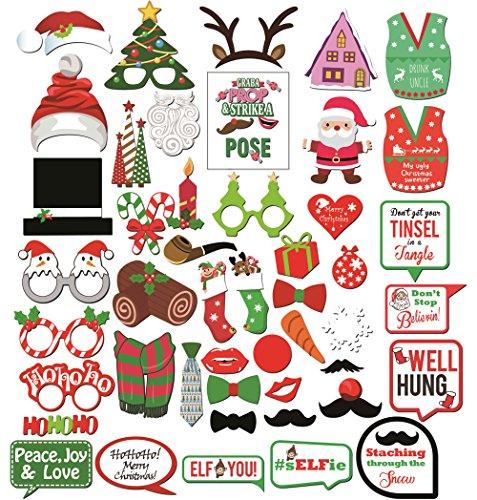 Konsait Weihnachts Foto Requisiten Foto accessoires (47Pcs), DIY Weihnachts Photo Booth Props Zubehör mit Stöcken lustig Santa hat Geweih Masken für Erwachsene Kinder Weihnachten Party Dekoration