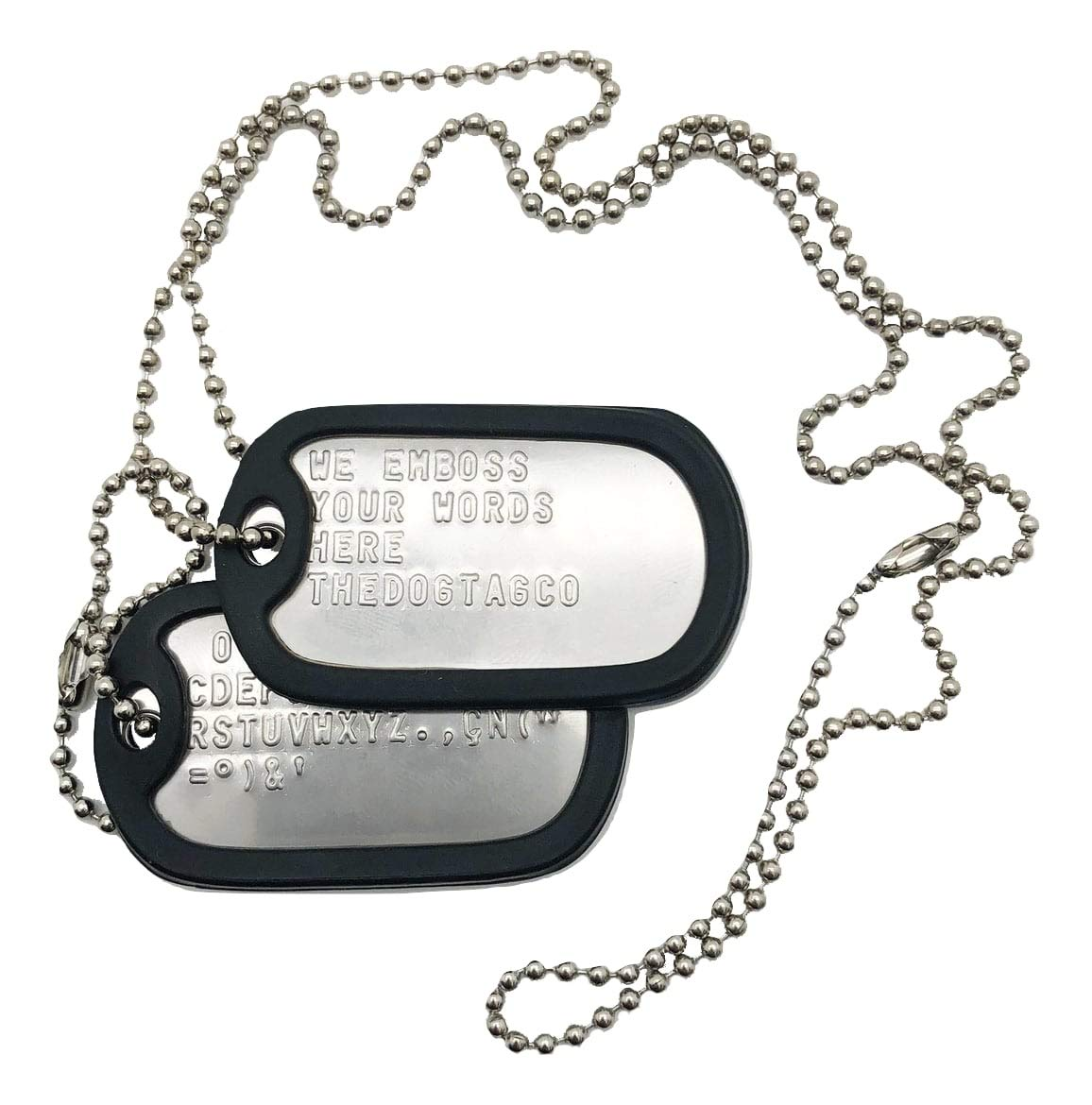 TheDogTagCo Military Dog Tags – Set of 2 Personalised Stainless Steel Nickel Plated Army Style Dog ID Tags with Ball Chains & silencers Read Description to See How to ADD Personalisation