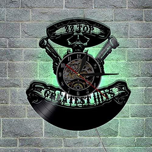 FANCYLIFE Greatest Hits ZZ Top Music Group Orologio da Parete Applique da Parete a LED in Vinile Applique da Parete per Interni con Decorazioni retrò
