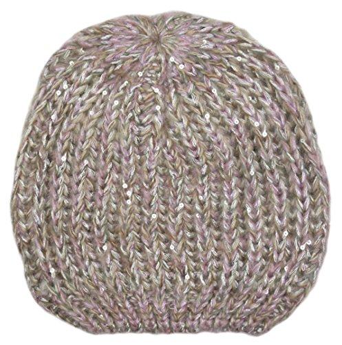 TOM Franks Damen Kabel Hat mit Lurex & Pailletten, Silber (Lurex-kabel)